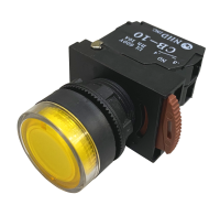 Yellow Lighted Maintained Push Button Switches: NLB22-L10YE 120V AC/DC