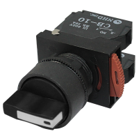 Selector Switch: 3 Position, Short Handle, Center Off, 2 N/O Blocks